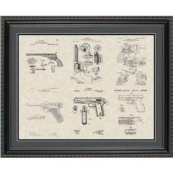 Handguns Patent Art Wall Hanging