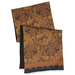Brown Paisley Silk and Wool Reversible Scarf