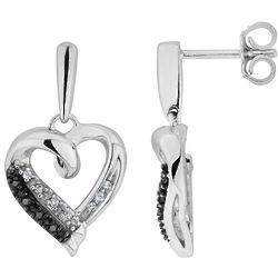White and Black Diamond Heart Earrings in Sterling Silver