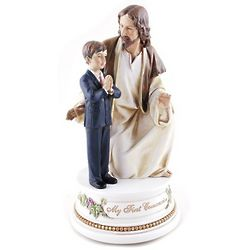First Communion Jesus with Boy Musical Figure