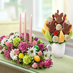 Easter Floral Centerpiece and Fruit Arrangement