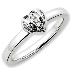 Open Heart Diamond Stackable Ring in Sterling Silver