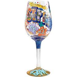 September Birthday Wine Glass