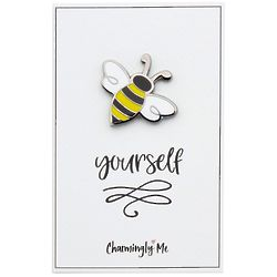 Bee Yourself Bumble Bee Lapel Pin on Greeting Card