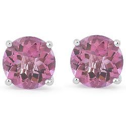Pink Topaz & 14K White Gold Stud Earrings