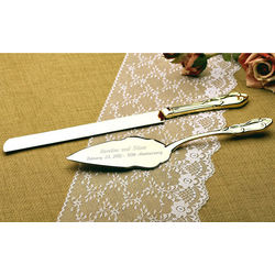 Personalized Gold Plated Cake Knife and Server Set