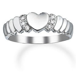 14k White Gold and Diamond Heart Promise Ring