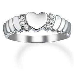 14k White Gold and Diamond Heart Promise Ring
