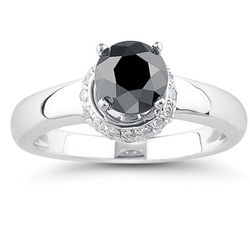 Black & White Diamond Ring in 18K White Gold