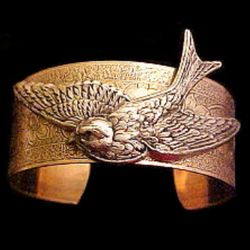 Flying Bird Brass Cuff Bracelet