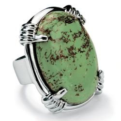 Silver Tone Oval-Shaped Turquoise Ring