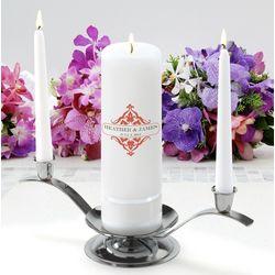 Personalized Classic Charm Round Pillar Unity Candle Set