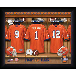 Personalized Illinois Fighting Illini Locker Room Print