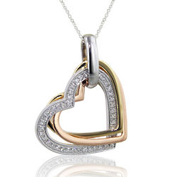 14K Tri-Color Gold Heart Necklace