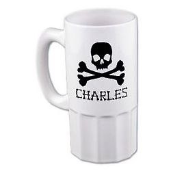 Personalized Skull and Crossbones Beer Mug