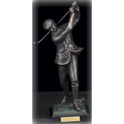 Bronzed Metal Golfer Statue On Marble Base