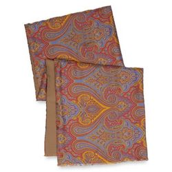 Red Paisley Silk and Wool Reversible Scarf