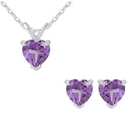 Amethyst Heart Earrings and Necklace Set