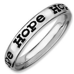 Sterling Silver Black Enamel Hope Ring