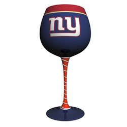 New York Giants Hand-Painted Wine Glass