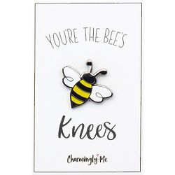 """""""You're the Bees Knees"""" Bumble Bee Lapel Pin on Greeting Card"""