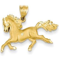 14K Gold Galloping Horse Pendant