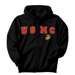 USMC Black Zipper Hooded Sweatshirt