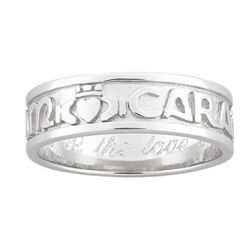 Sterling Silver Engraved Mo Anam Cara Soul Mate Claddagh Band