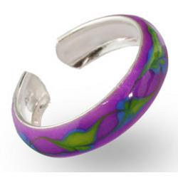 Leaf Design Purple Enamel Sterling Silver Toe Ring