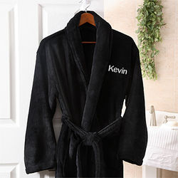 Men's Personalized Black Microfleece Spa Robe