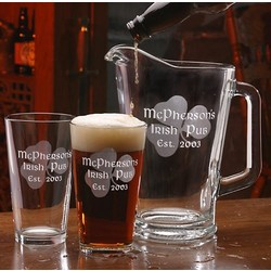 Personalized Irish Shamrock Barware Set