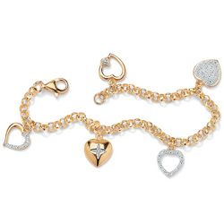 Diamond Accent Gold Heart Charm Bracelet