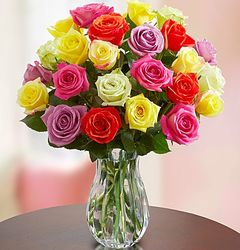 Bouquet of Two Dozen Multicolored Roses