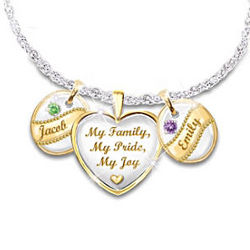 'My Family, My Pride, My Joy' Birthstone Pendant Necklace
