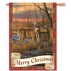 Merry Christmas Wildlife Art Flag