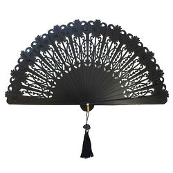 Black SpanishTraditional Pierced Design Hand Fan