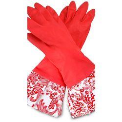 Sassy Red Damask Rubber Gloves