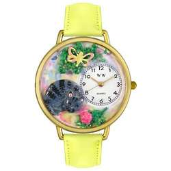 Cat Nap Personalized Watch with Yellow Leather Band