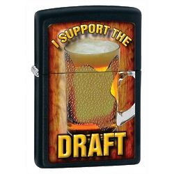 Personalized I Support the Draft Black Matte Zippo Lighter