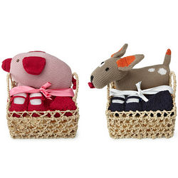 Baby Shower Toy, Hat, and Bootie Gift Basket