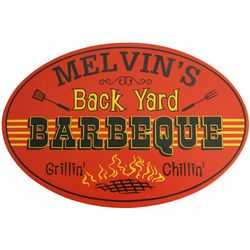 Back Yard Barbeque Personalized Wooden Sign