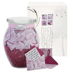 Pink Ribbon Jar of Messages in Mini Envelopes