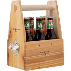 Wooden Beer Tote with Bottle Opener
