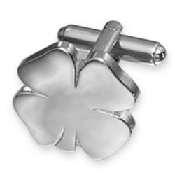 Silver-Plated 4 Leaf Clover Cufflinks