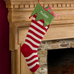 Green Cuff and Red Stripes Personalized Knit Christmas Stocking