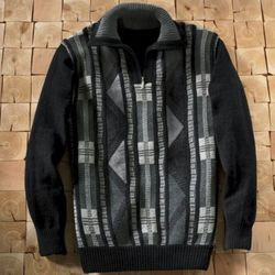 Men's Faux Suede Chenille Sweater