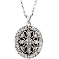 Sterling Silver Filigree Oval Locket Necklace