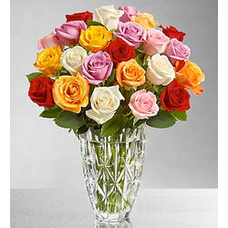 Marquis by Waterford Vase with Multicolored Roses