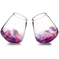 Spinning Stemless Wine Glasses