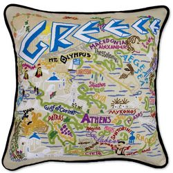 Hand Embroidered Greece Pillow